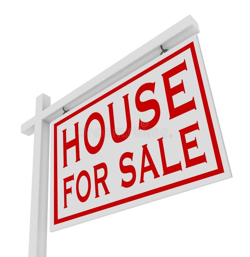 Haus für Verkaufs-weißes Zeichen-Ausgangsgrundbesitz lizenzfreie abbildung
