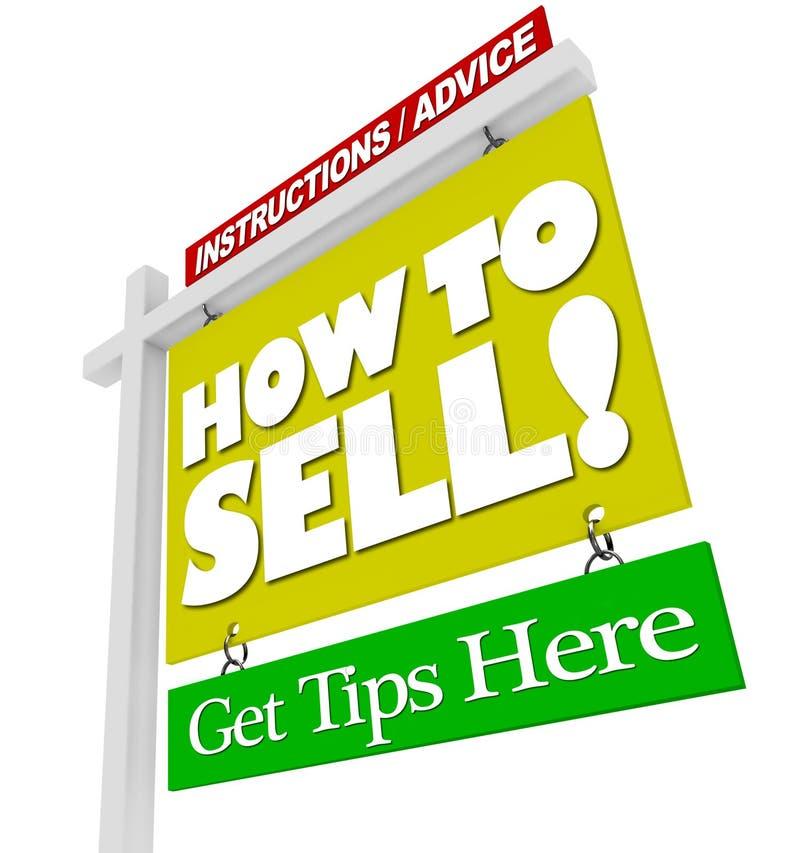 Haus für Verkaufs-Zeichen, wie man Rateinformationen verkauft lizenzfreie abbildung