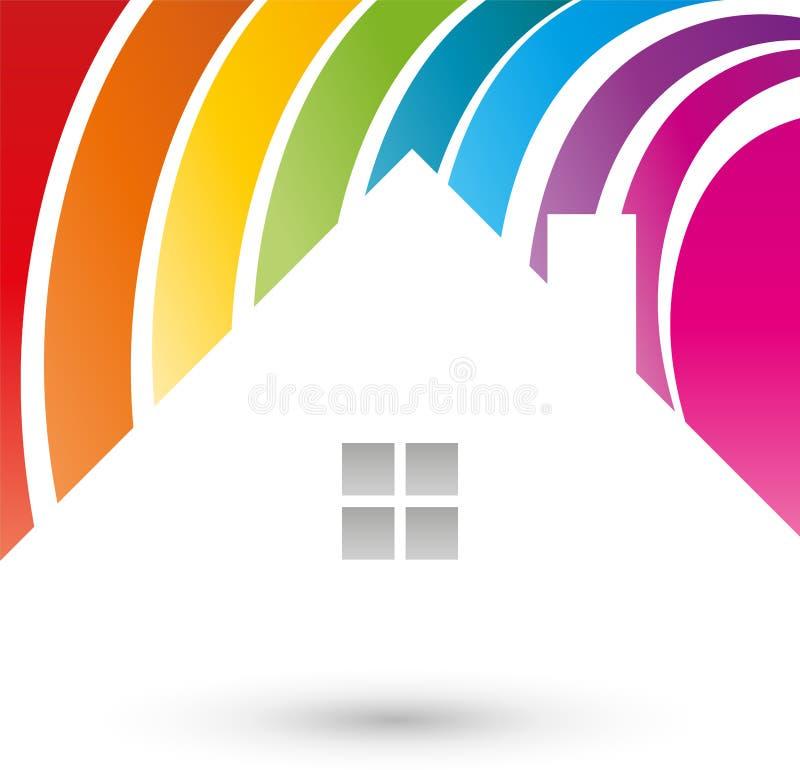 Haus, Farbe, Maler, Logo vektor abbildung. Illustration von farbe ...
