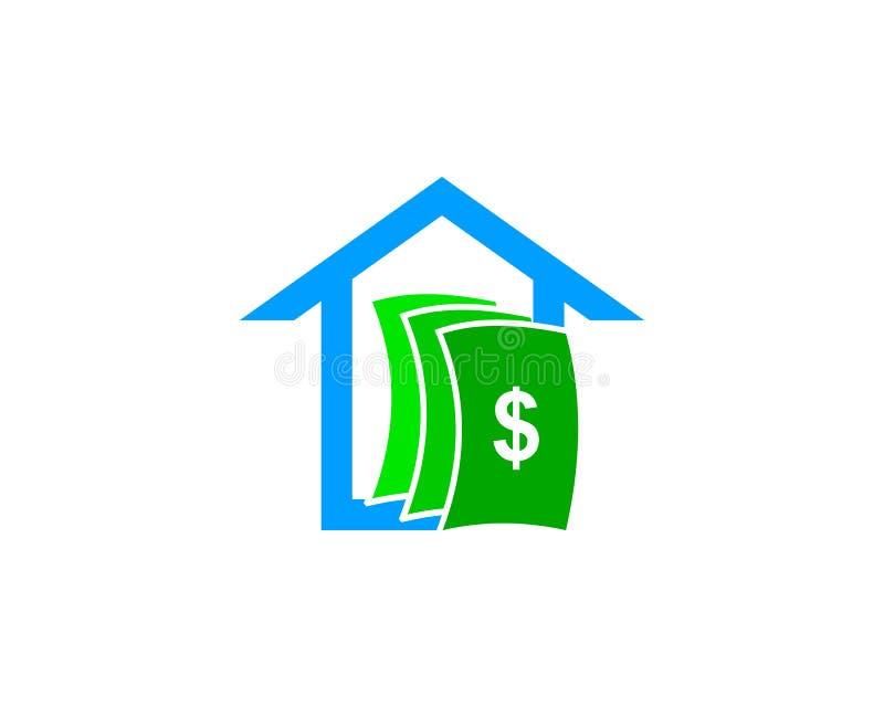 Haus-Geld Logo Design Element lizenzfreie abbildung