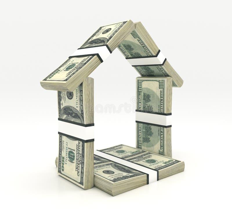 Haus gemacht vom Bargeld lokalisiert vektor abbildung
