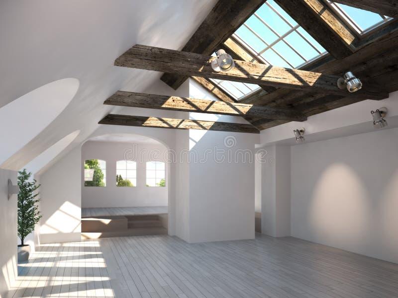 Leerer Raum mit rustikaler Bauholzdecke und -oberlichtern vektor abbildung