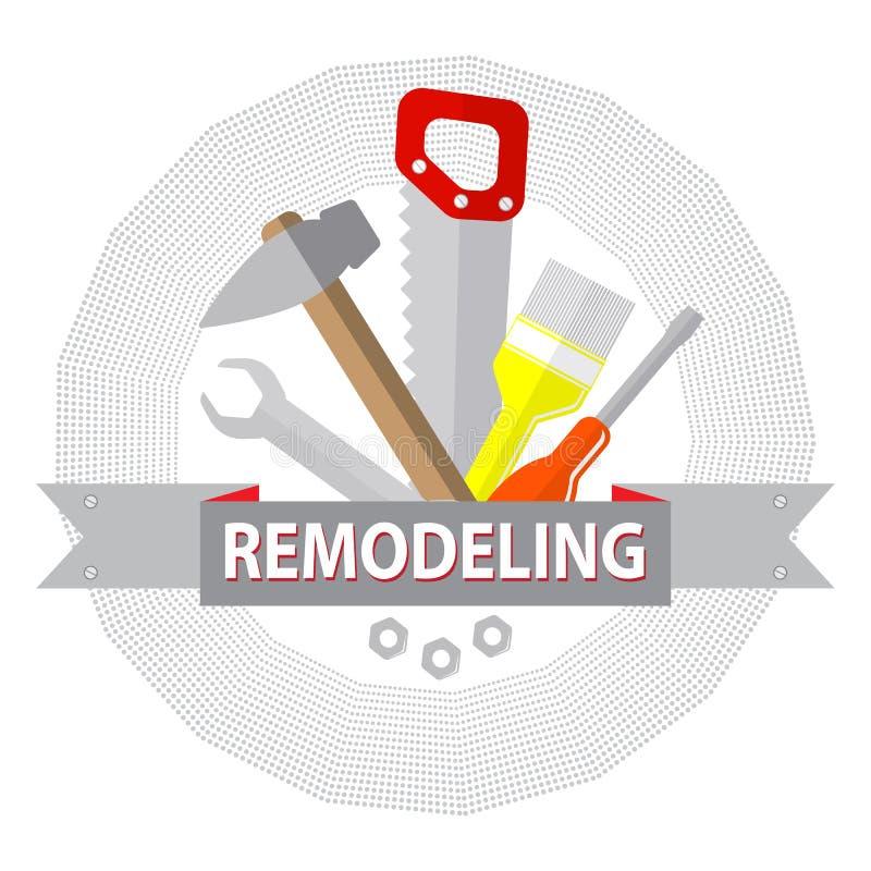 Haus gestalten Werkzeuge um Logohauptreparaturservice stock abbildung