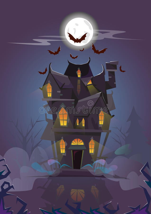 Haus-Halloween-Nacht schlägt Fliegen herum stock abbildung