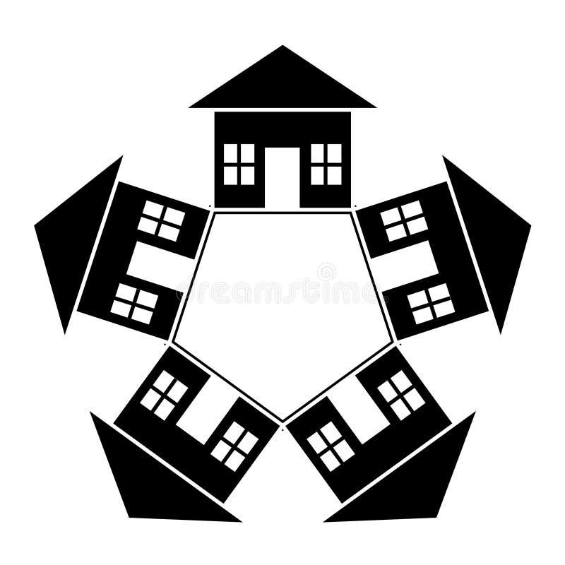 Haus herum stock abbildung