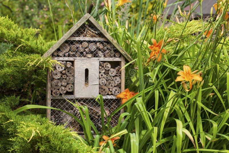 Haus- Hotel des Insekts in einem Sommergarten stockfotografie