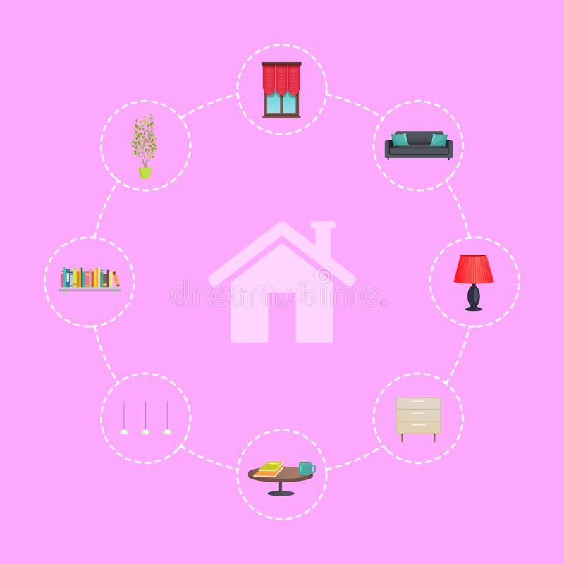 Haus-Ikone umgeben mit Innendekor-Elementen stock abbildung