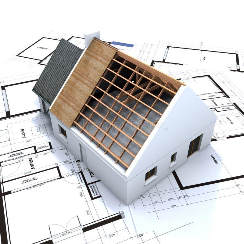 Haus im Aufbau und im Blau stock abbildung