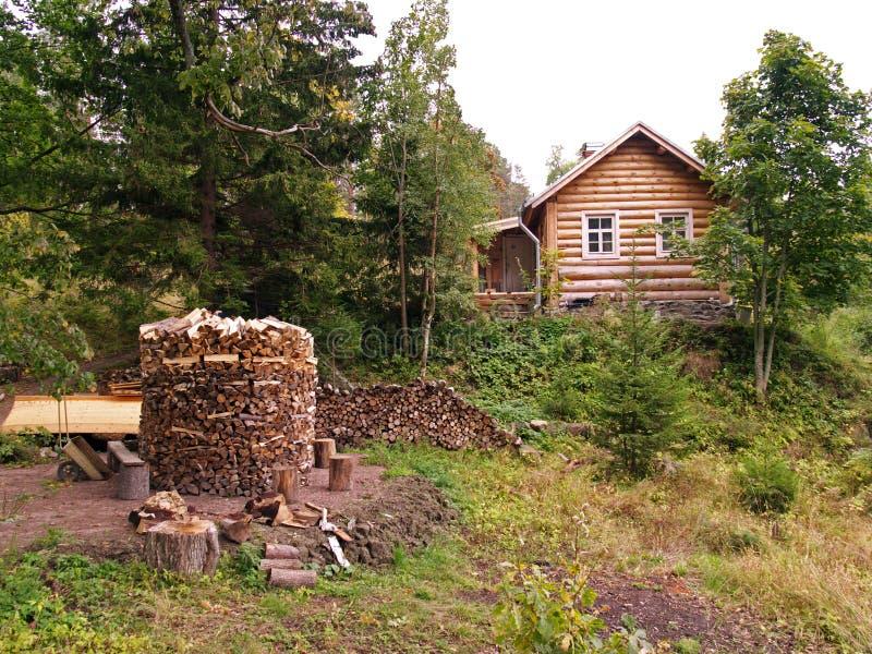 Haus im Holz stockbild