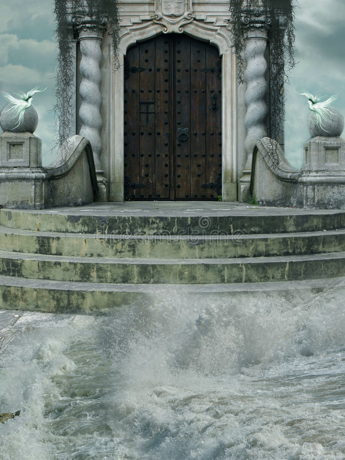 Haus im Meer stockfoto