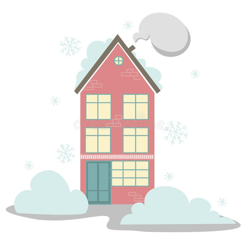 Haus im Schnee stock abbildung
