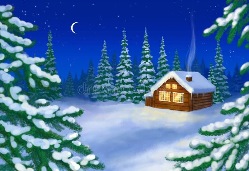 Haus im Schneewald lizenzfreie abbildung