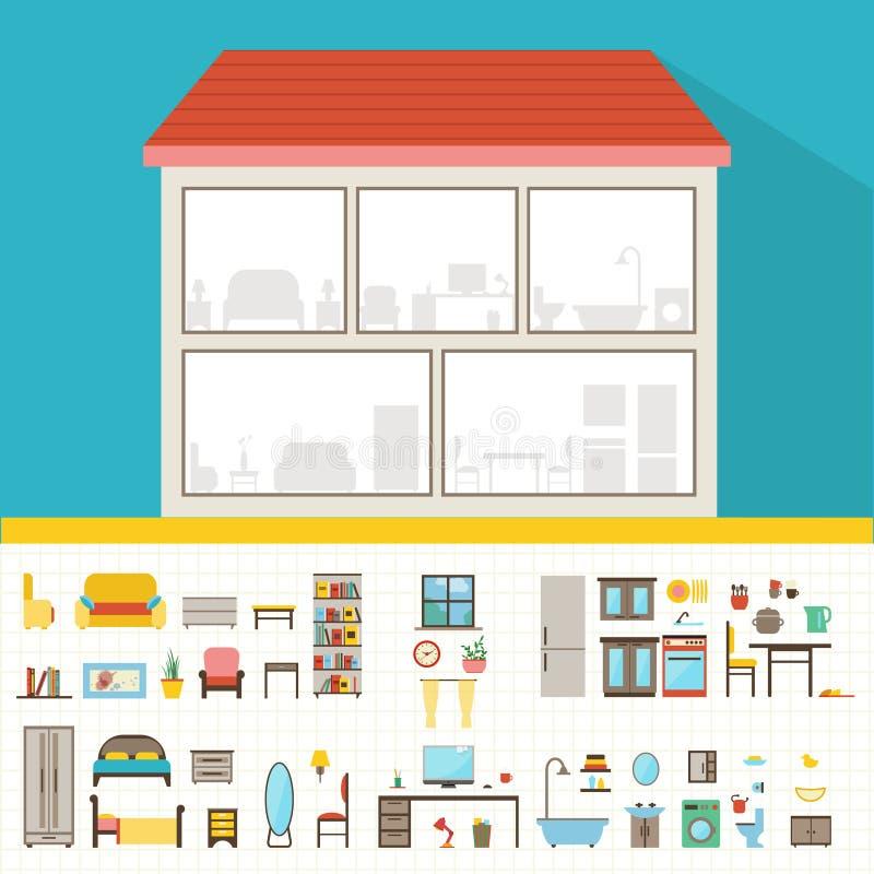 Haus im Schnitt Ausführlicher moderner Hausinnenraum lizenzfreie abbildung