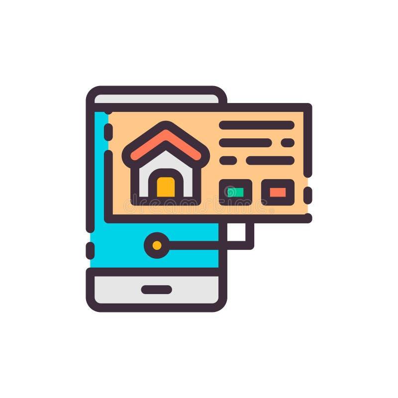 Haus im Telefon suchen und wählend Vektorfarbikone lizenzfreie abbildung