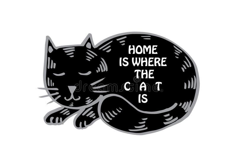Haus ist, wo die Katze ist lizenzfreie abbildung