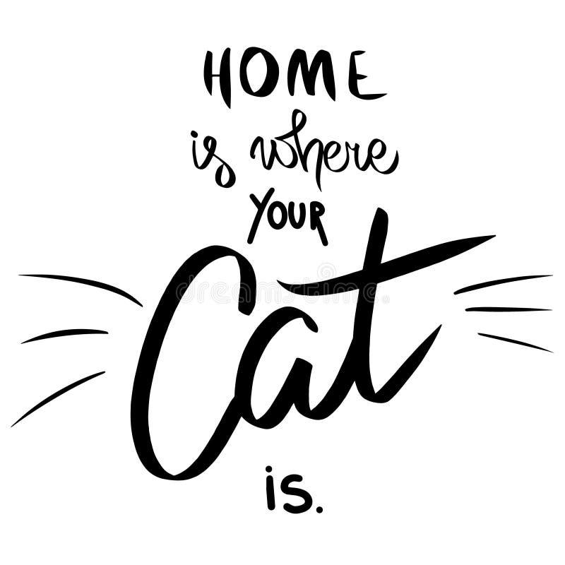 Haus ist, wo Ihre Katze ist Gezeichnetes Sagen des Vektors Hand mit dem Katzenschnurrbart Schwarze Katze der lustigen Zeichenkart lizenzfreie abbildung