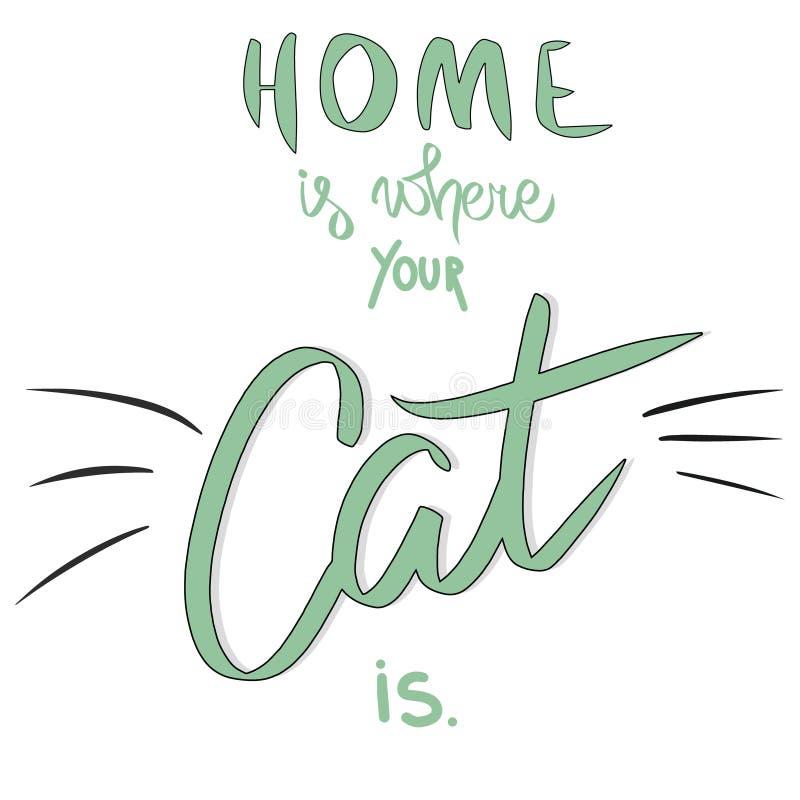 Haus ist, wo Ihre Katze ist Gezeichnetes Sagen des Vektors Hand mit dem Katzenschnurrbart Schwarze Katze der lustigen Zeichenkart stock abbildung