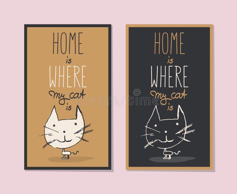 Haus ist, wo meine Katze ist lizenzfreie abbildung