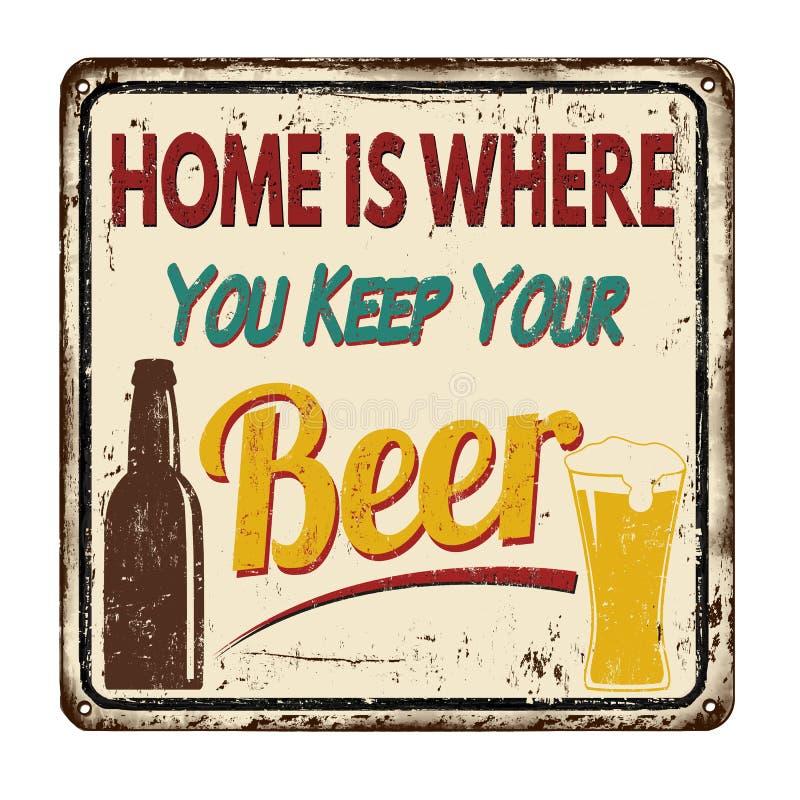 Haus ist, wo Sie Ihr Bierweinlesemetallschild halten lizenzfreie abbildung