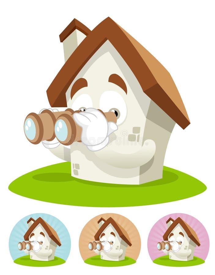 Haus-Karikatur-Maskottchen - binokular stock abbildung