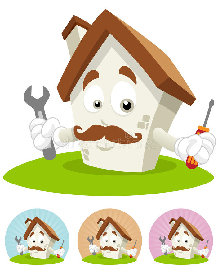 Haus-Karikatur-Maskottchen - Mechaniker stock abbildung