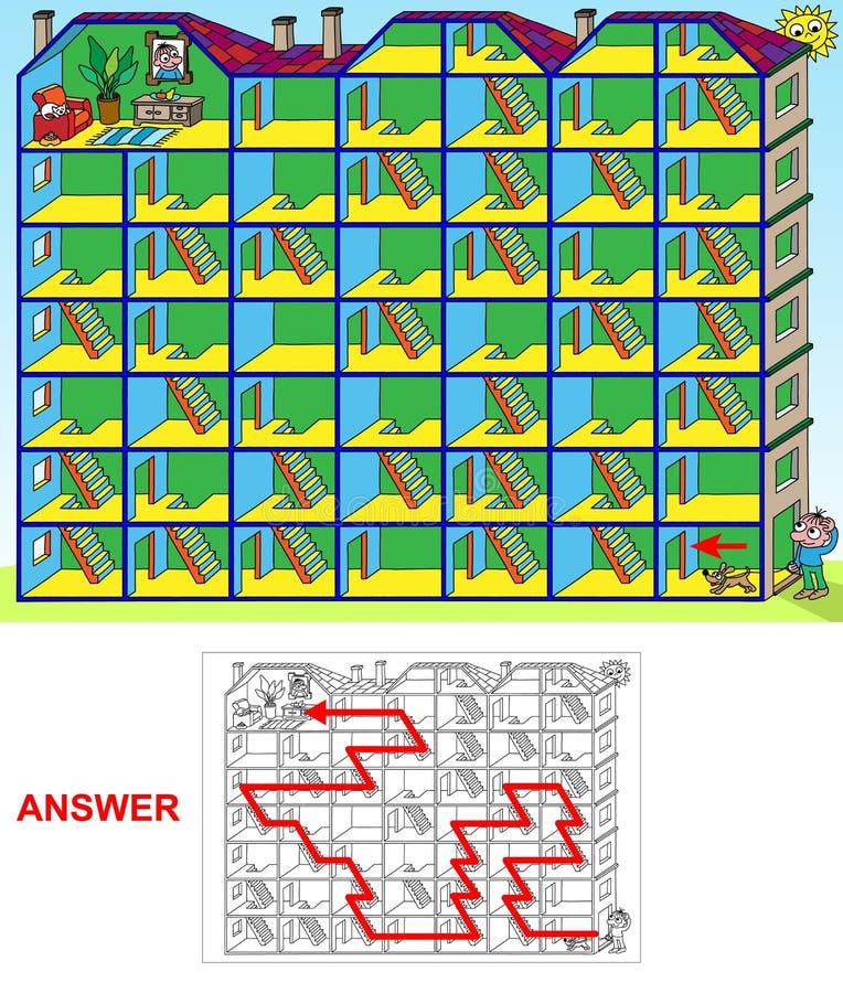 Haus- Labyrinthlandschaft lizenzfreie abbildung