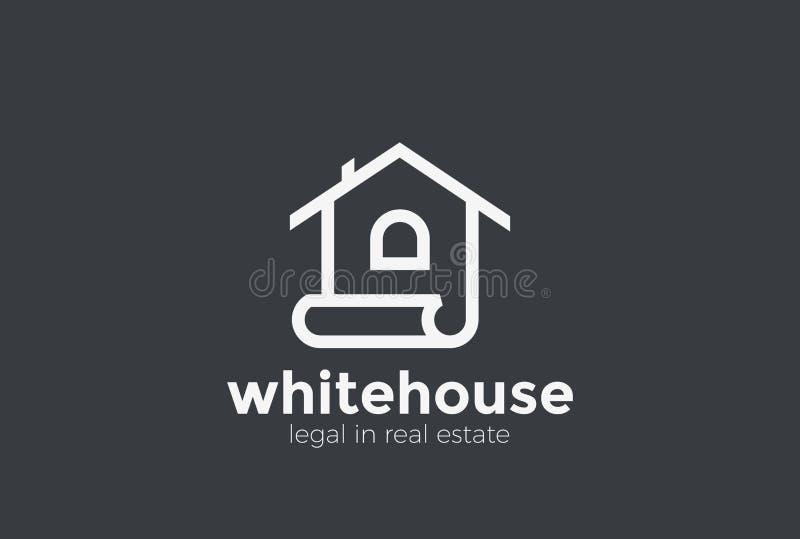 Haus-Logozusammenfassungsvektor linear Real Estate zeichnen auf lizenzfreie abbildung