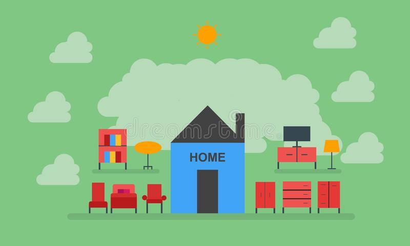 Haus, Möbel, Stuhl, Tabelle, Garderobe, Licht, Fernsehen, Bett, süßes Haupthaus vektor abbildung