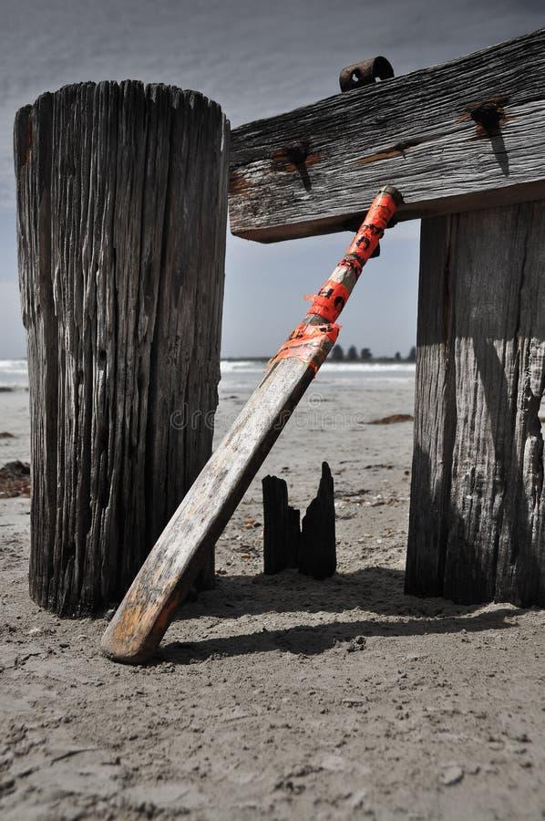Haus machte Kricketschläger auf dem Strand lizenzfreie stockbilder