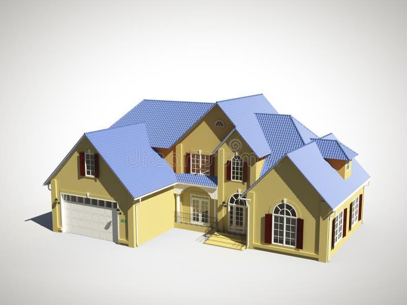 Haus mit blauem Dach lizenzfreie abbildung