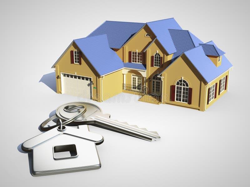 Haus mit blauem Dach vektor abbildung