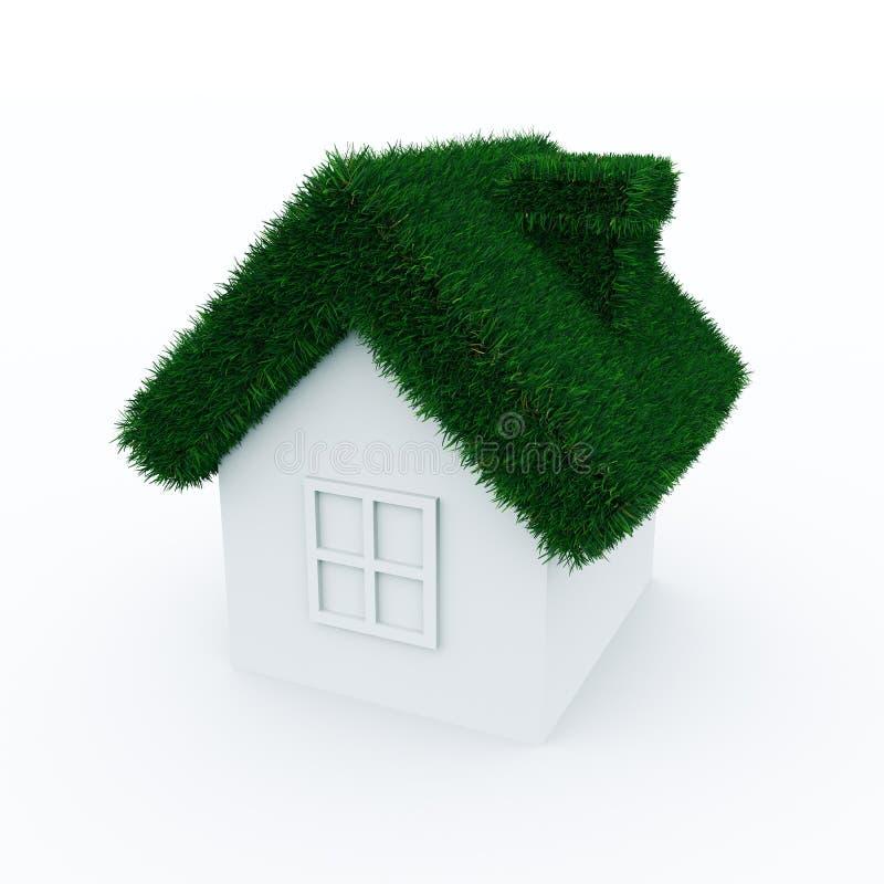 Haus mit Dach des grünen Grases. stock abbildung