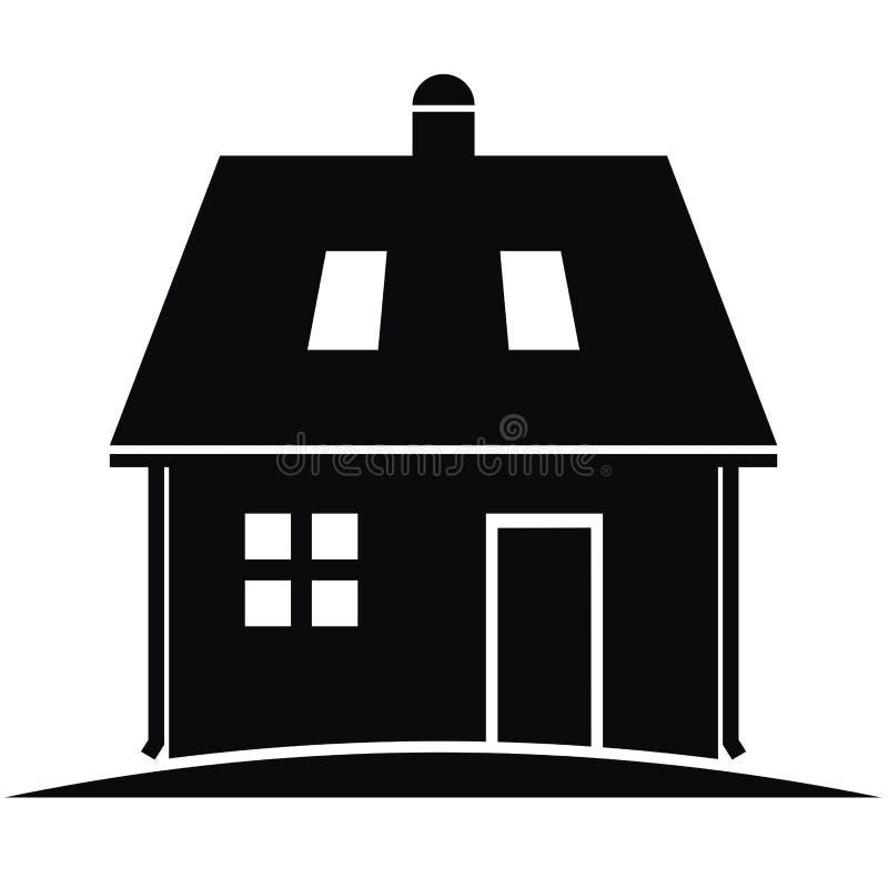 Amazing Download Haus Mit Dachgesimsen Und Dachfenstern, Tür Und Schornstein,  Vektorikone Vektor Abbildung   Illustration