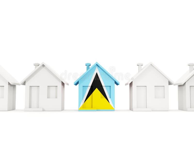 Haus mit Flagge der St. Lucia stock abbildung