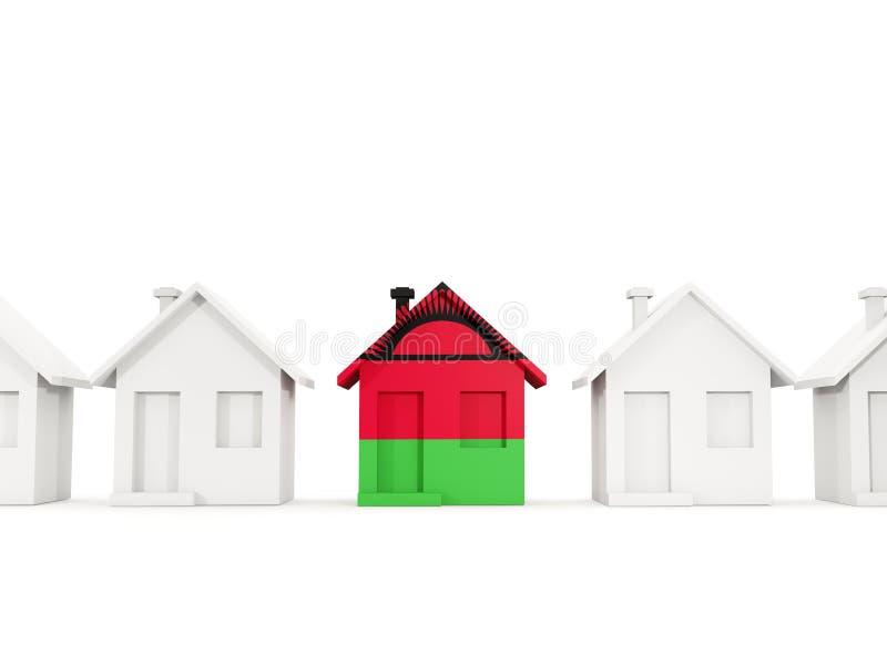 Haus mit Flagge von Malawi vektor abbildung