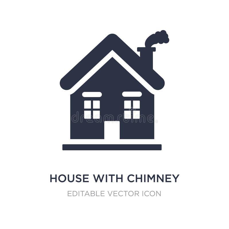 Haus mit Kaminikone auf weißem Hintergrund Einfache Elementillustration vom Gebäudekonzept vektor abbildung