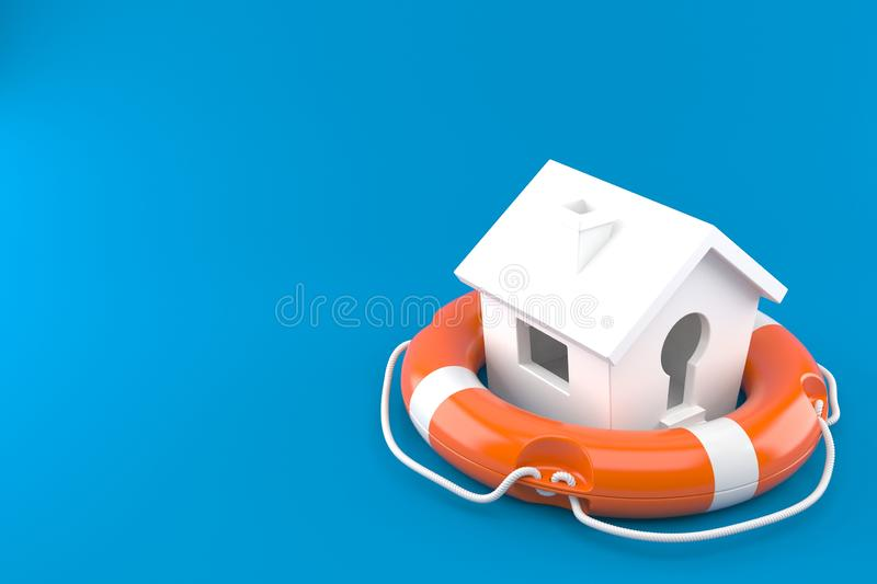 Haus mit Lebenboje lizenzfreie abbildung