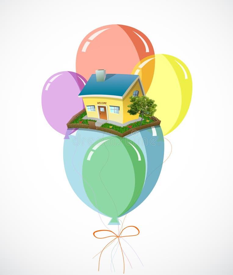 Haus mit Losen bunten Ballonen. Vektor lizenzfreie abbildung