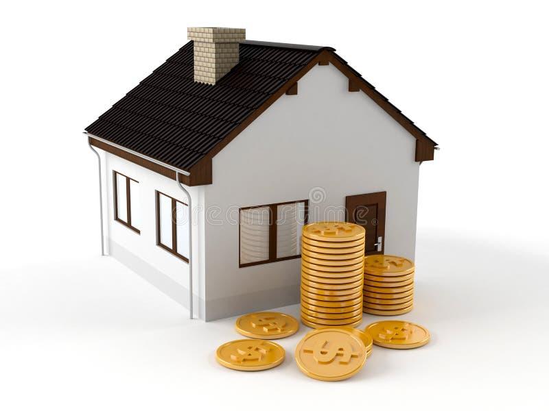 Haus mit Münzen stock abbildung