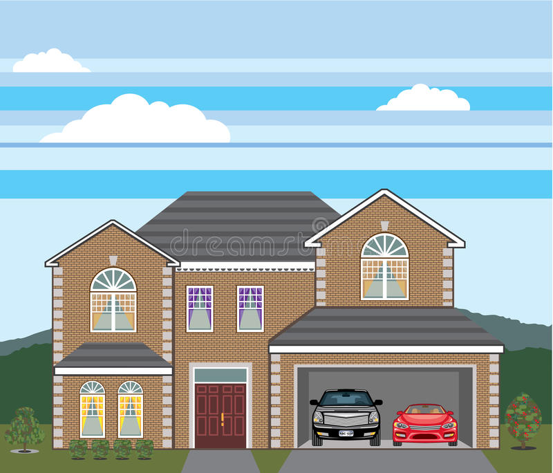 haus mit offener garage 2 autos offene garage immobilien des ziegelsteines vektor abbildung. Black Bedroom Furniture Sets. Home Design Ideas