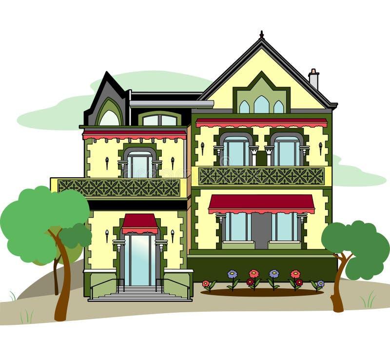 Download Haus mit rosa stors vektor abbildung. Illustration von häuschen - 96932812