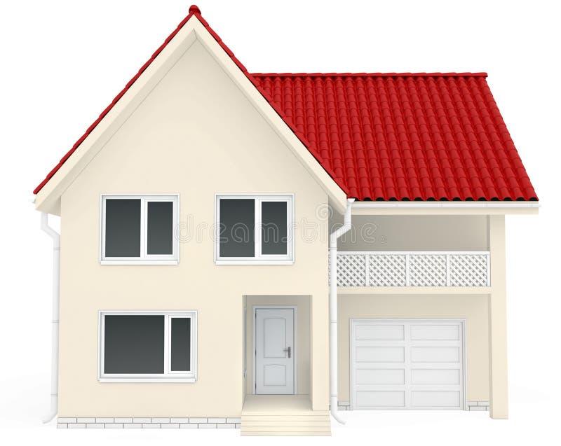 haus mit rotem dach balkon und garage an stockbild bild von auslegung zeitgen ssisch 52418203. Black Bedroom Furniture Sets. Home Design Ideas