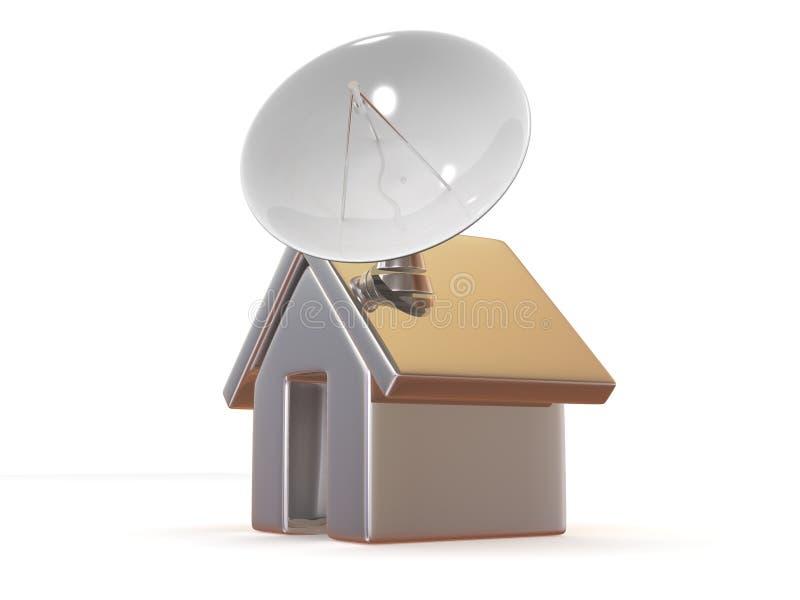 Haus mit Satelliten lizenzfreie abbildung