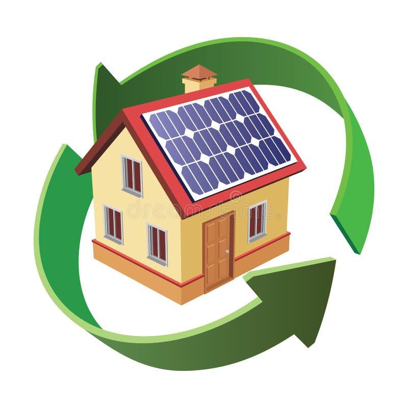 Haus mit Solar lizenzfreie abbildung