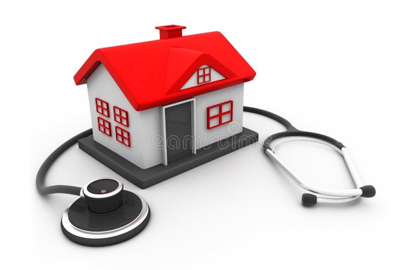 Haus mit Stethoskop vektor abbildung