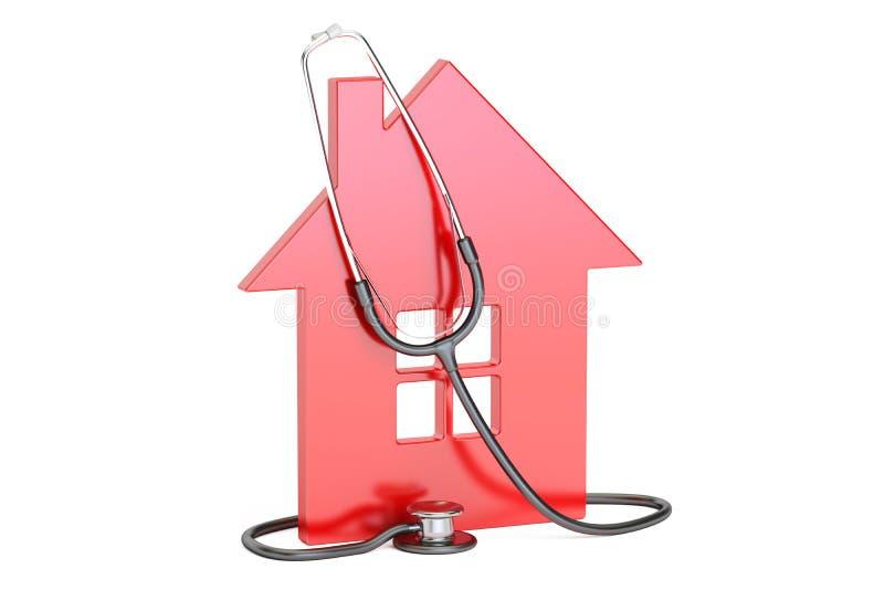 Haus mit Stethoskop, Wiedergabe 3D stock abbildung