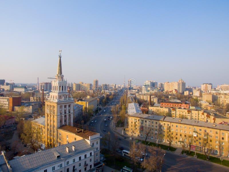 Haus mit Turm in Voronezh lizenzfreies stockfoto