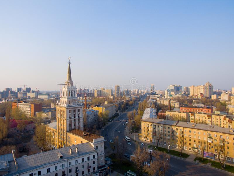 Haus mit Turm in Voronezh lizenzfreie stockfotografie