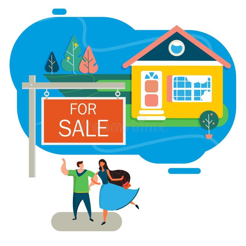 Haus oder Plan für Verkauf Hypothek oder Darlehen für Landplan Lokalisiertes Bild im Vektor lizenzfreie abbildung