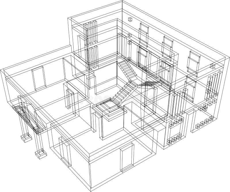 Haus-Perspektive lizenzfreie abbildung